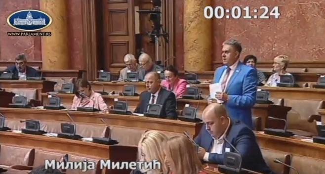 Narodni poslanik Milija Miletić (USS), foto: Skupština Srbije, Parlament